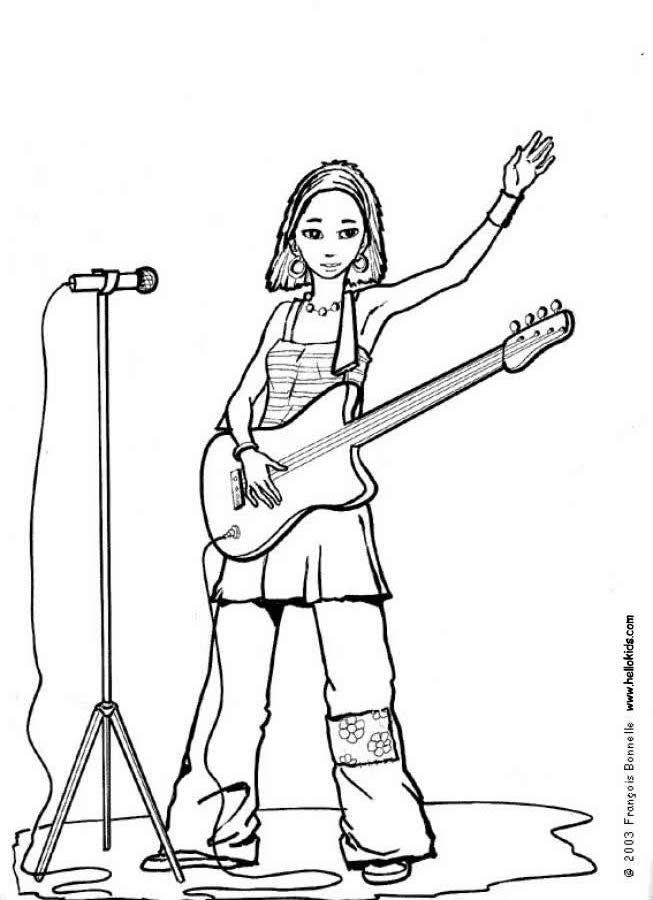 Singer With Guitar Coloring Page Amazing Way For Kids To Discover Job More Original Content On Hellokids