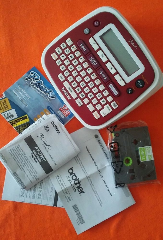 Brother P-touch Label Maker PT-D200 Bundle, Red