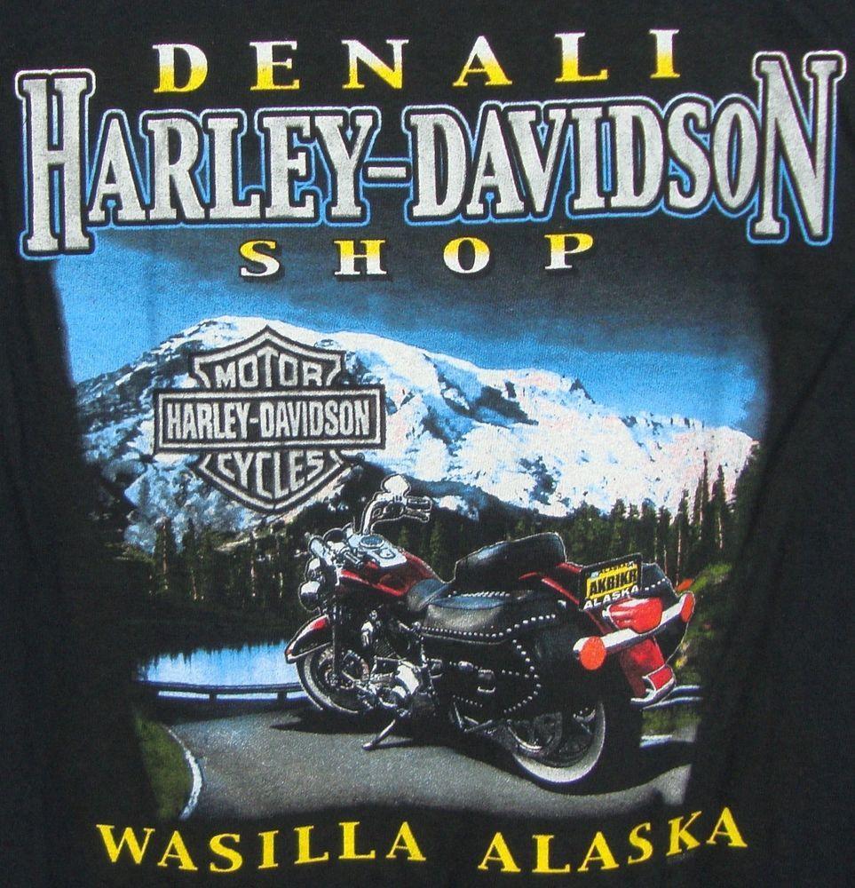 Denali Harley Davidson Alaska T-shirt Mens XL Black Wasilla AK Eagle Mountains #HarleyDavidson #GraphicTee $31.99