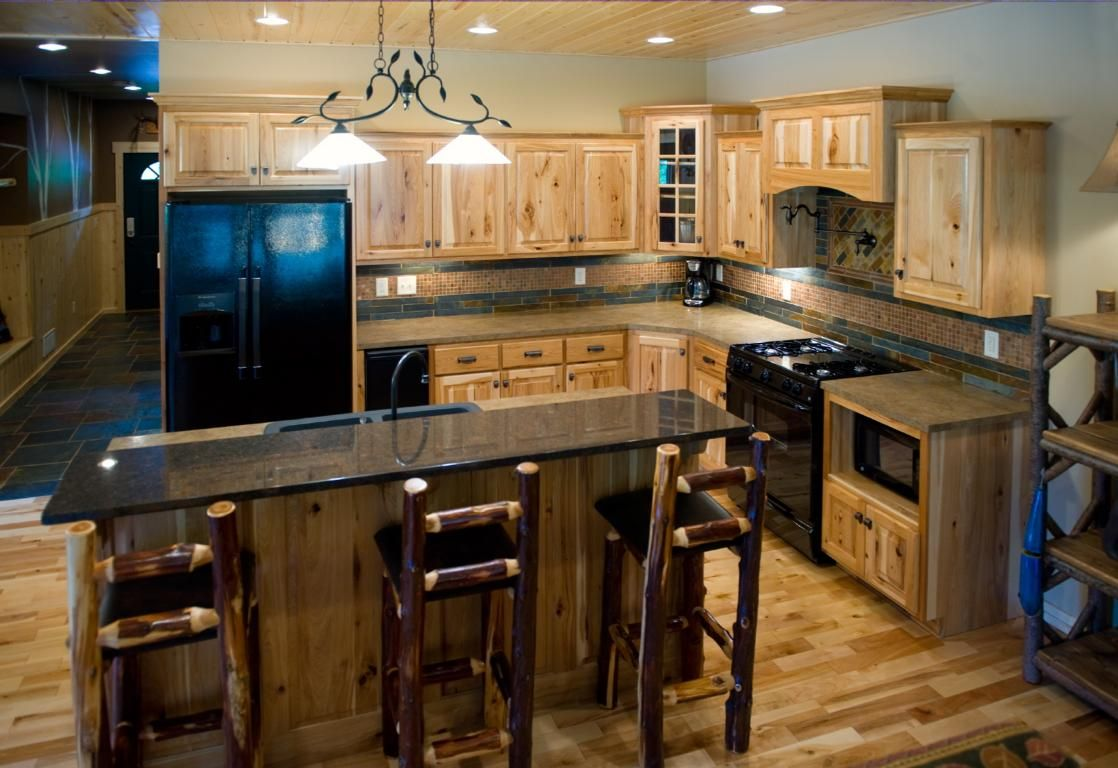 Hickory Cabinets With Black Granite Countertops