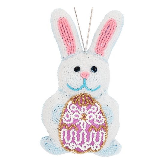 """DIY beads embroidery kit ''Decorative Toy Bunny"""". #vdvkiev embroiderykit #beads #sequins #beadingkit #Preciosa #printonfabric #softtoy #toy"""