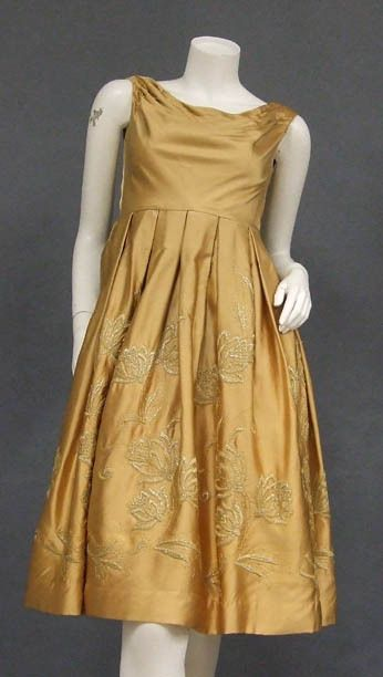 Vintageous, LLC - Muted Golden Satin Cocktail Dress w/ Metallic Embroidery, $139.00 (http://www.vintageous.com/muted-golden-satin-cocktail-dress-w-metallic-embroidery/)
