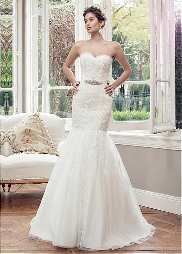Cool Dressilyme Gorgeous Tulle & Polka Dot Tulle Mermaid Sweetheart Neckline Natural Waistline Wedding Dress With Delicate Beaded Lace Appliques
