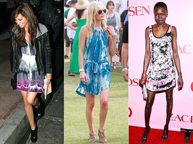 TIE-DYE DRESSES  photo | Alek Wek, Ashley Tisdale, Kate Bosworth