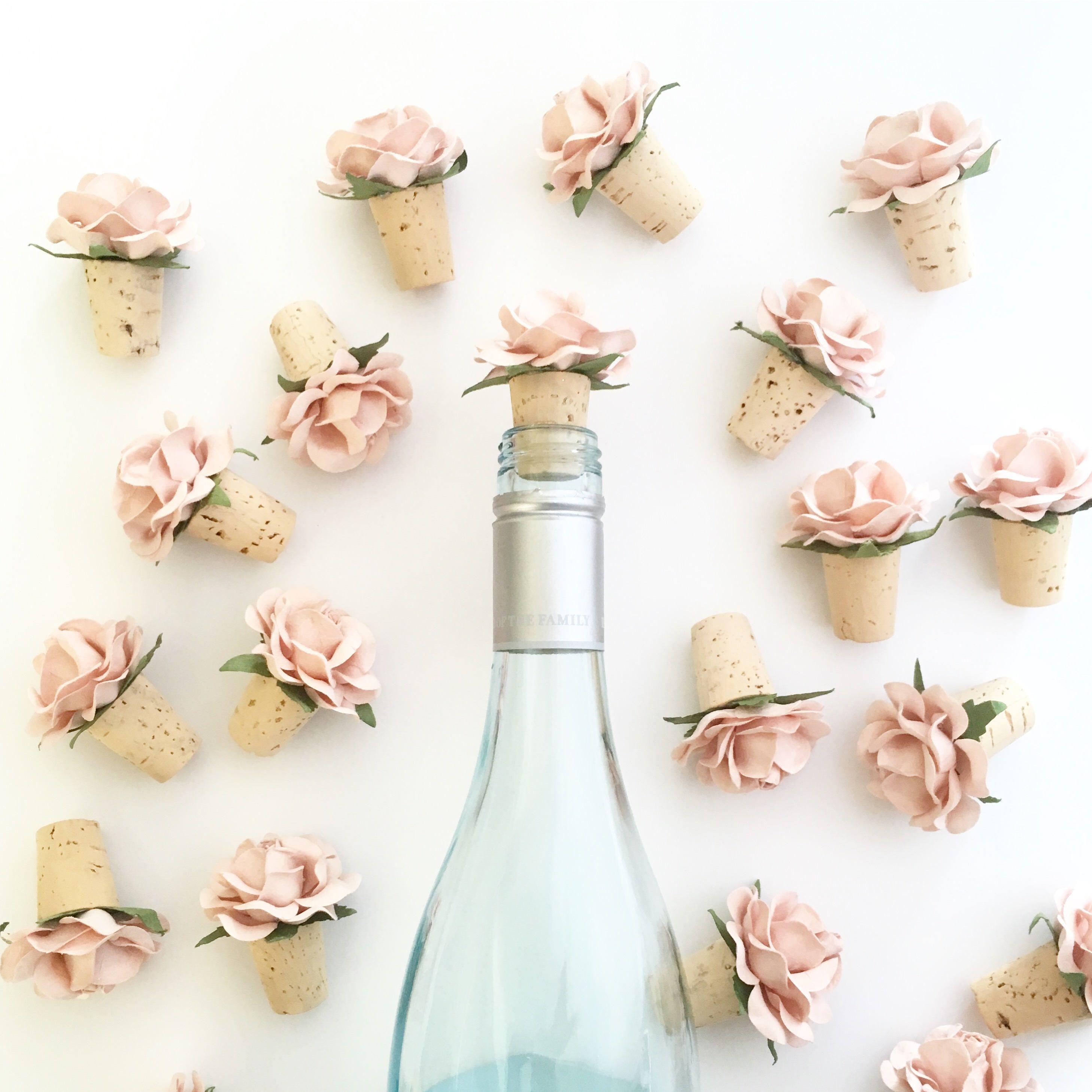 Wine Bottle Stopper, Blush Wedding Favors, Bridal Shower Favors ...