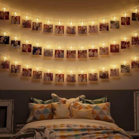 Starry string-light photo holders