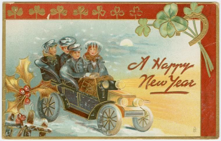 Happy New Year With Vintage Postcards Free Downloads Vintage Postcards Happy New Year Gif New Year Postcard