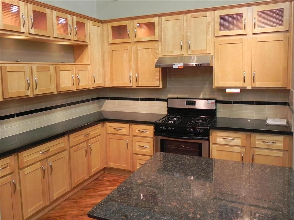 Example With Dark Floor And Black Counters Dont Love This Birch Kitchen Cabinets Birch Cabinets Kitchen Cabinets
