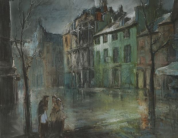 ART ARTISTS Ashcan School Everett Shinn Part Ashcan - Astonishing photorealistic paintings of places seen through wet car windshields