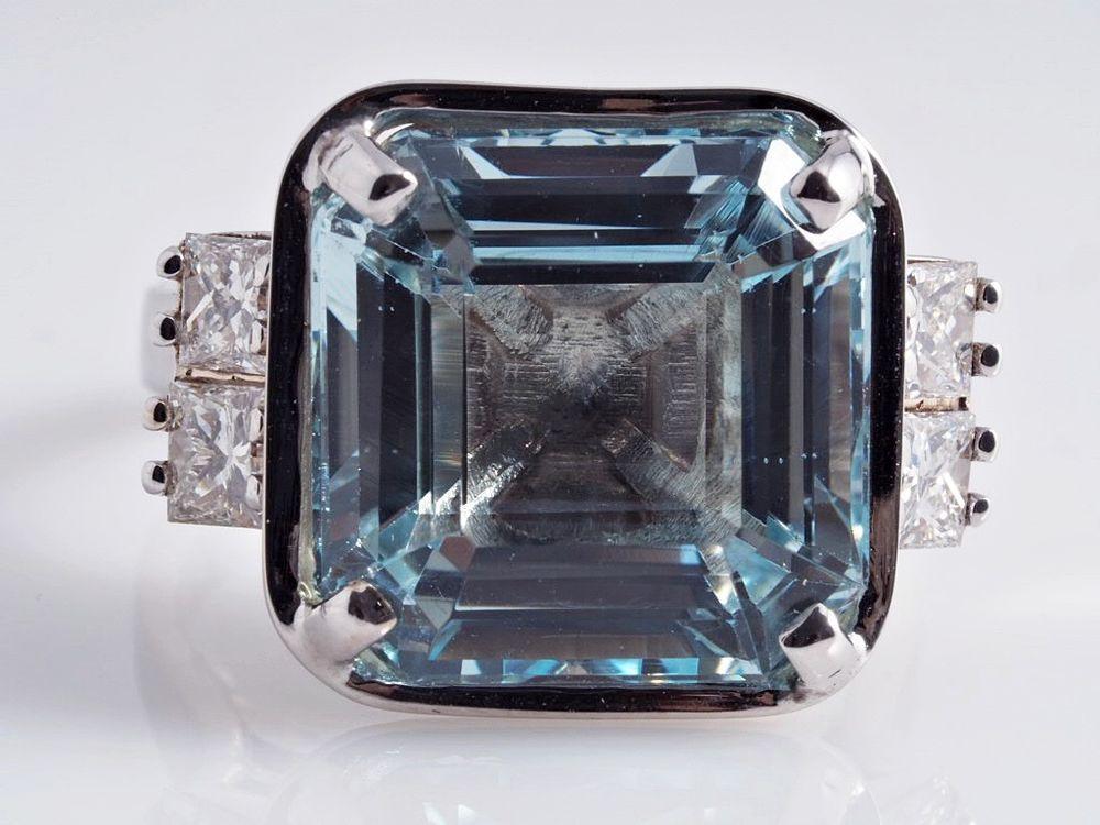 russischer Ring 0,80 Karat Diamanten 7,93 Karat Aquamarin