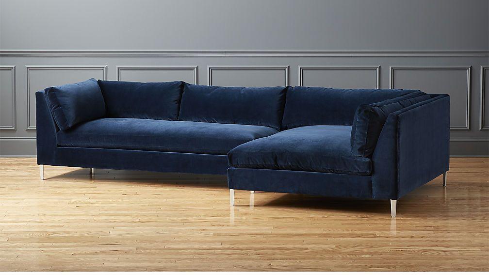 Decker 2 Piece Navy Blue Velvet Sectional Sofa Reviews Sectional Sofa Sectional Sofa With Chaise Best Leather Sofa