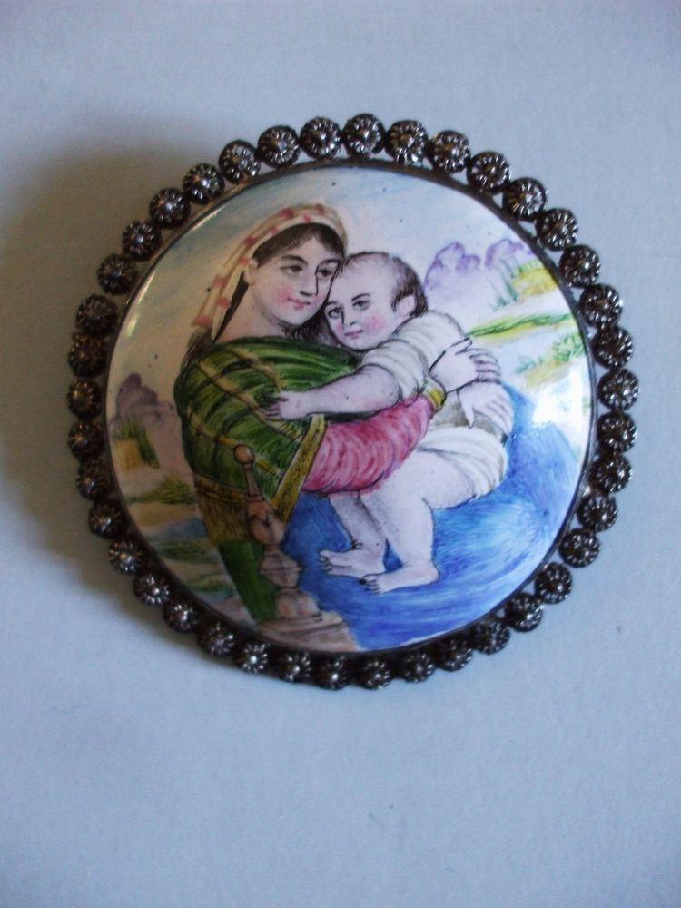 Broche ancienne miniature persane iran peinture mail vierge l enfant j sus bijoux en email for Peinture sur email