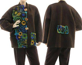 Boiled wool jacket plus