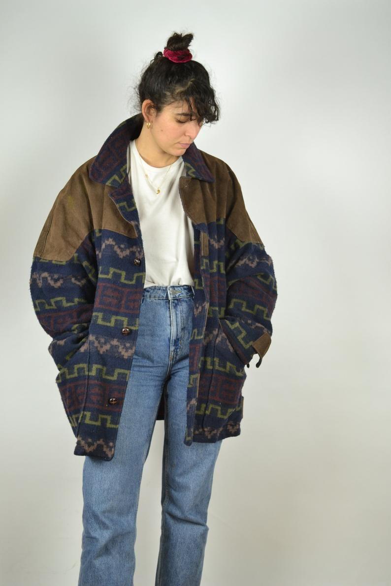 Schaffell Azteken Wolle Jacke 80er Jahre Vintage Winter