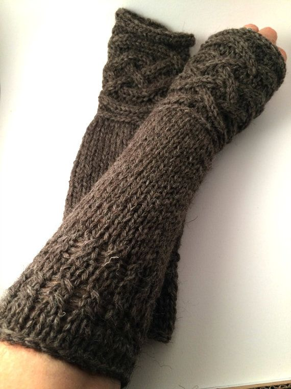 Celtic Knot Cabled Heather Brown 100% Wool Fingerless Gloves and/or ...