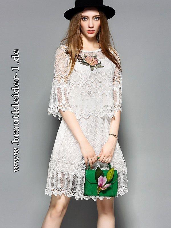 Zweiteiliges Midi Standesamt Kleid mit Spitze | Lace bride ...