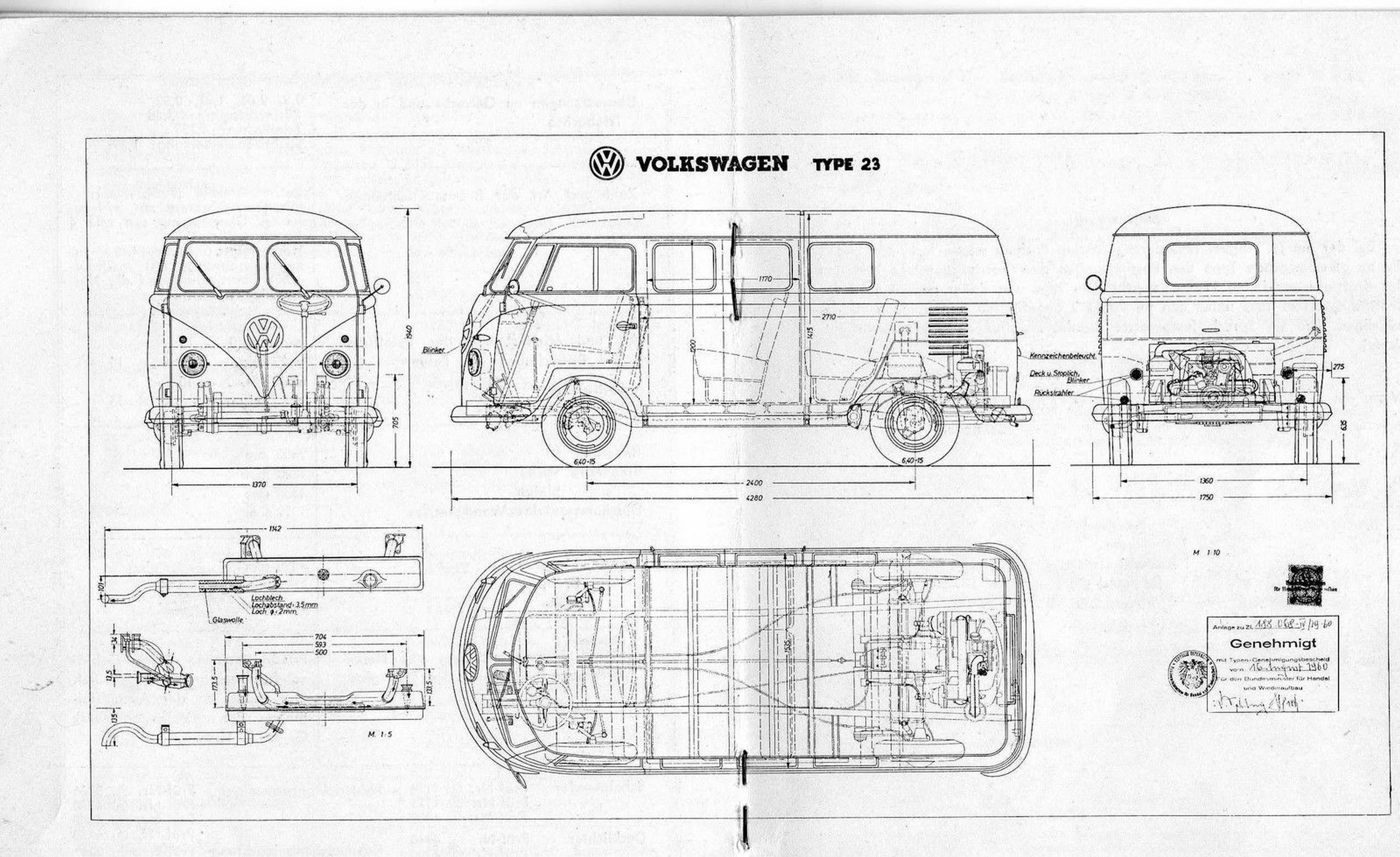 vw t1 bus type 23  1960