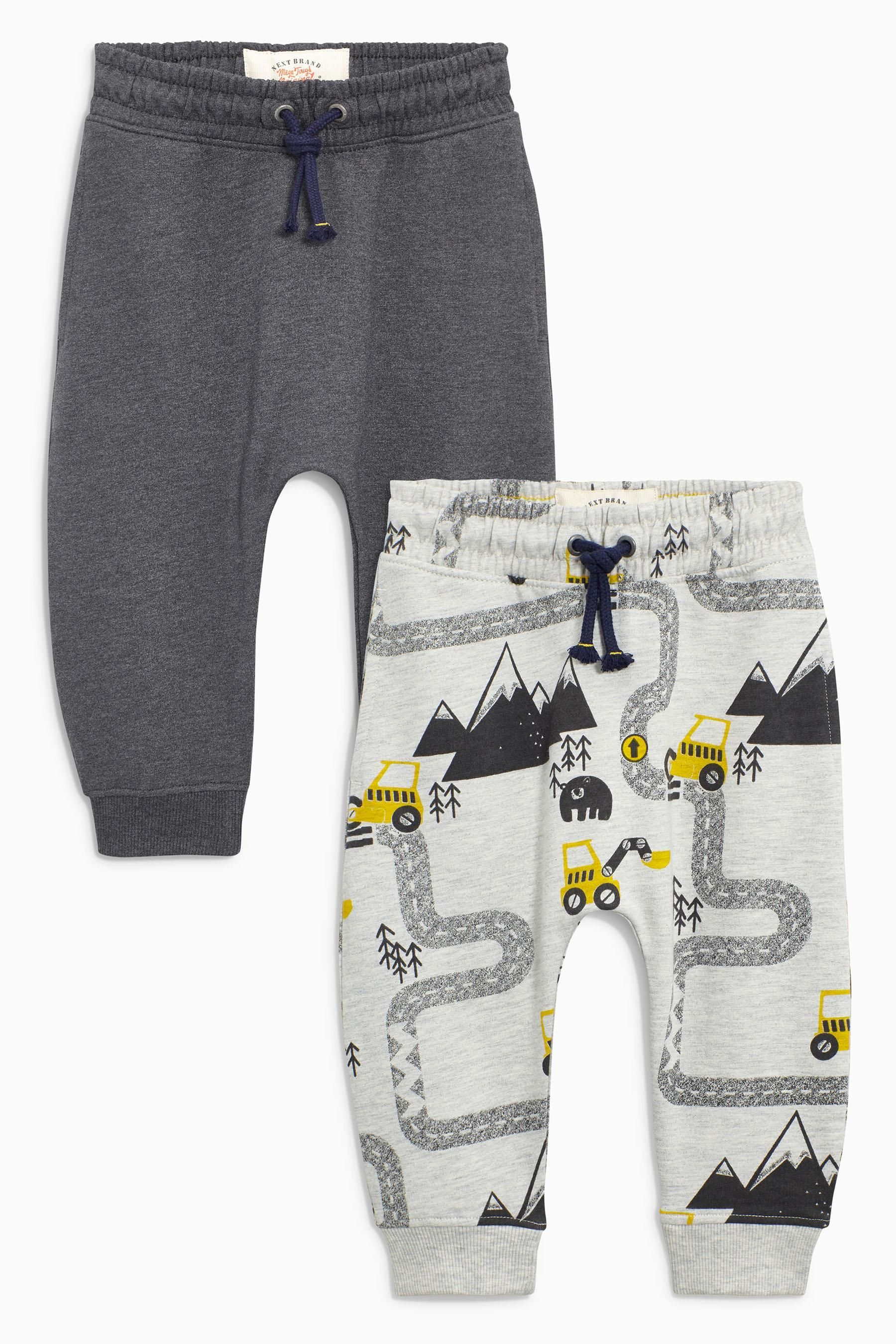 Buy Grey Ecru Road Map Printed Joggers Two Pack 3mths 6yrs from