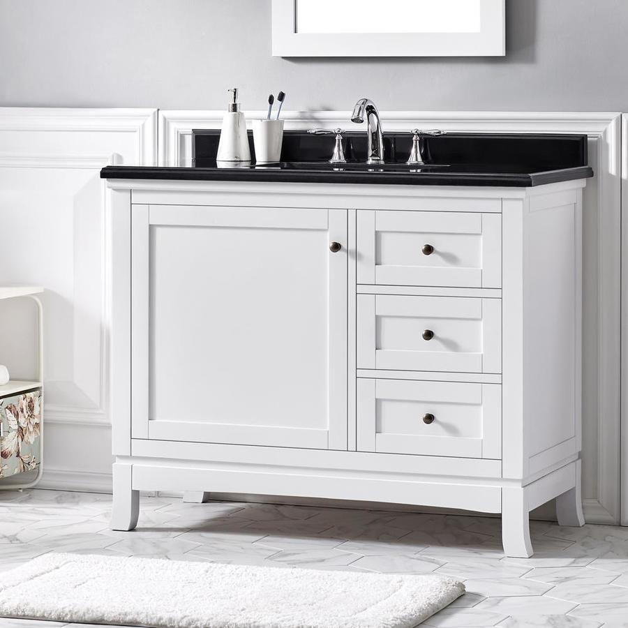 Ove Decors Sophia 42 In White Single Sink Bathroom Vanity With Black Granite Top Lowes Com Single Sink Bathroom Vanity 42 Inch Bathroom Vanity Bathroom Vanity White bathroom vanity with black top