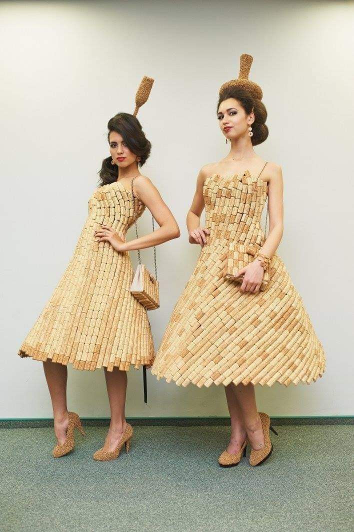 b7b321920e7 Dress from wine cork. The dresses are comfortable and light. Dresses are  made only