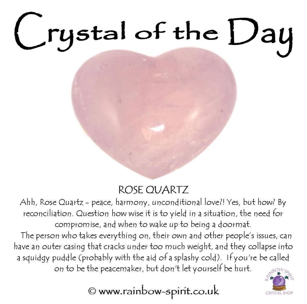 Crystal of the Day Rose Quartz, unconditional love based