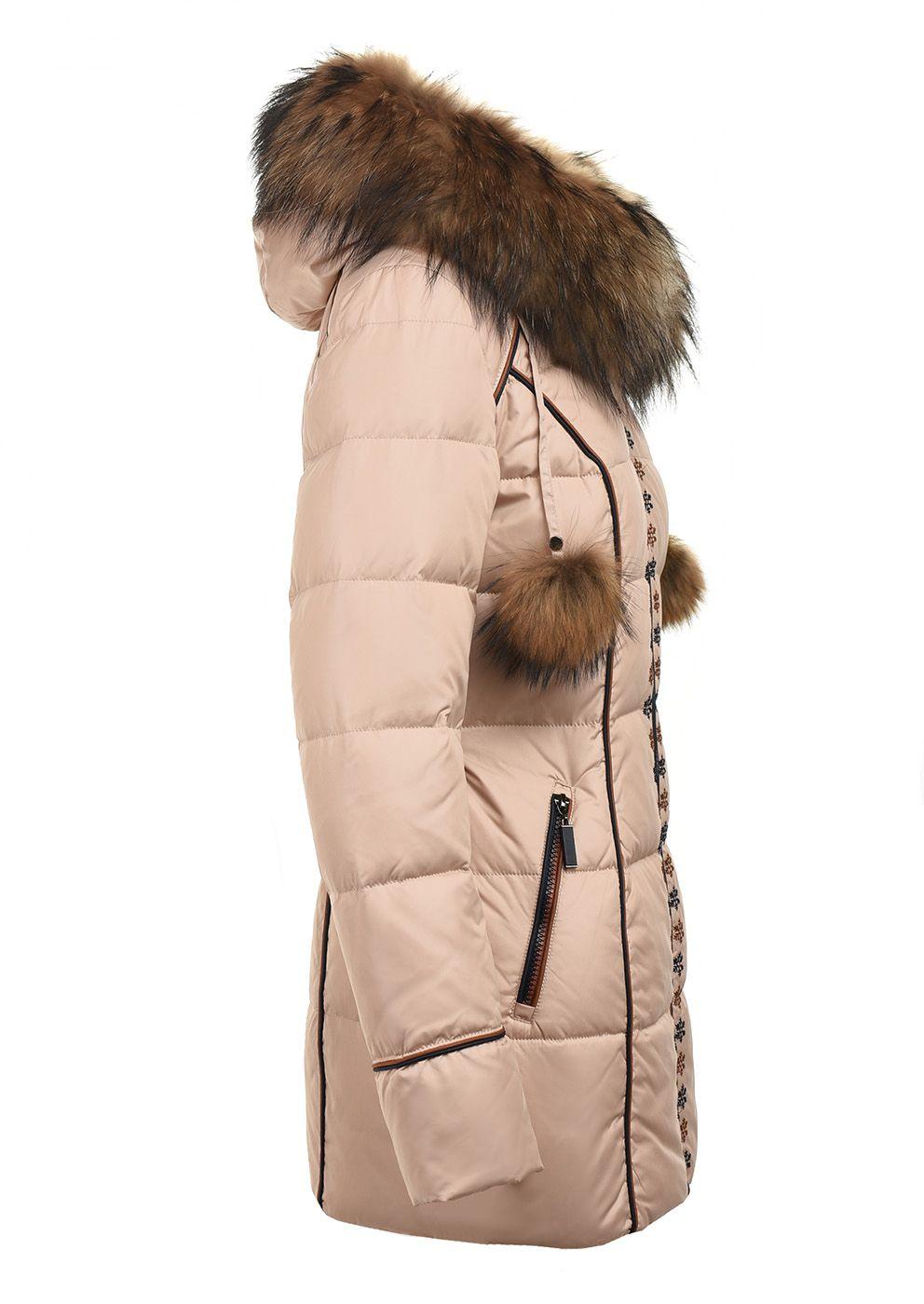 Dámská péřová bunda s kožešinovými bambulemi Veralba  8b725ace68d