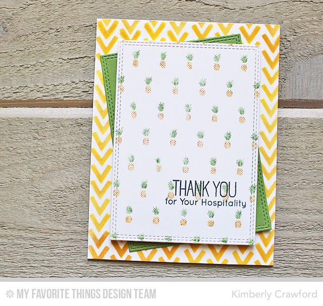 Pineapple Background, Polynesian Paradise, Double Stitched Rectangle STAX Die-namics, Wonky Chevron Stencil - Kimberly Crawford #mftstamps