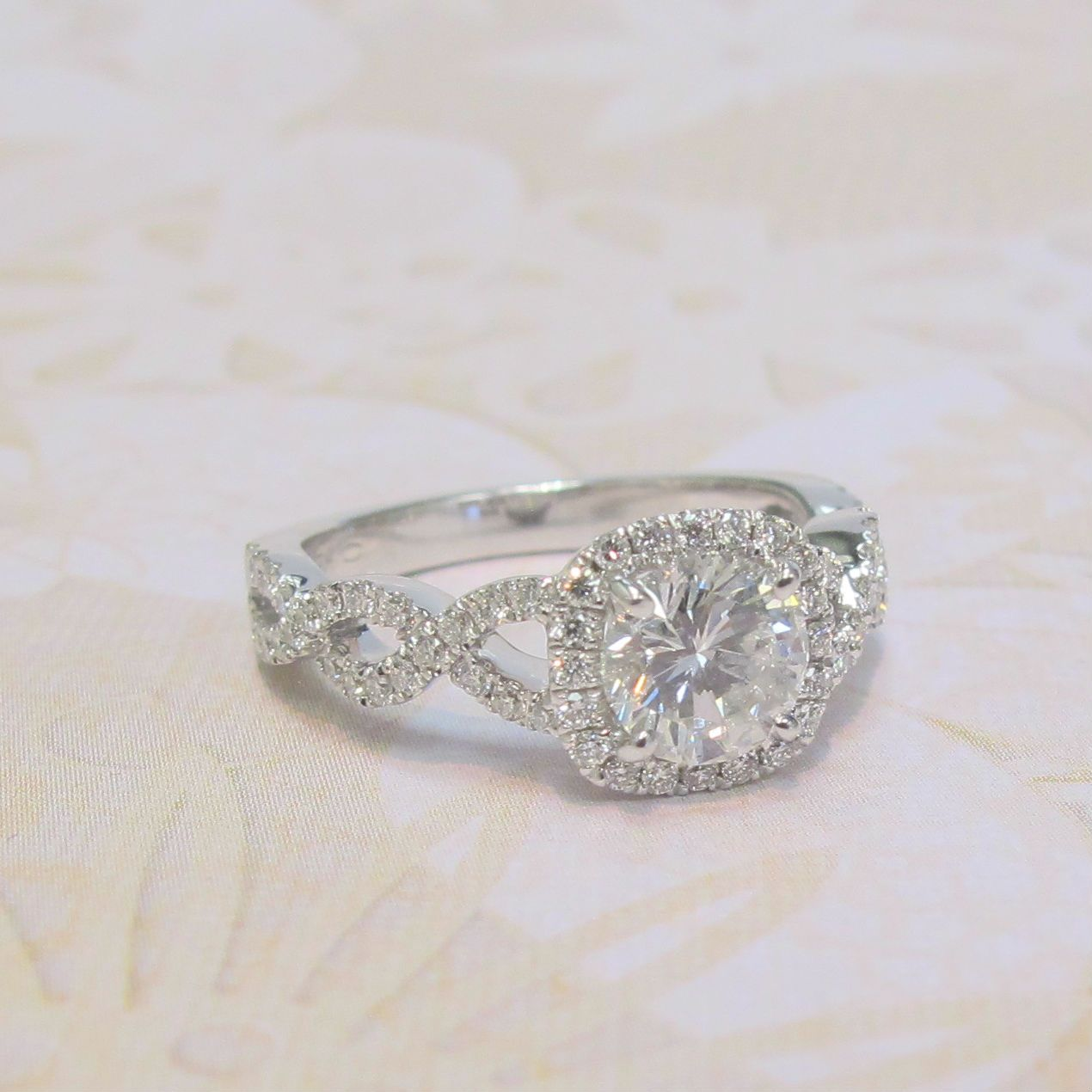 Cushion Halo and Round Diamond Engagement Ring in 14k
