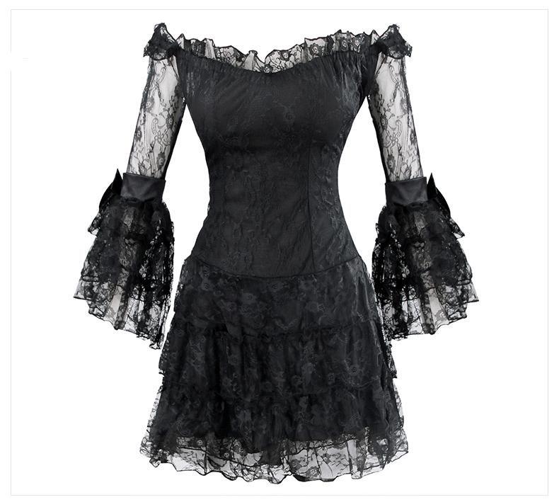Vintage Style Ruffles & Lace Long Sleeved Mini Dress | Black