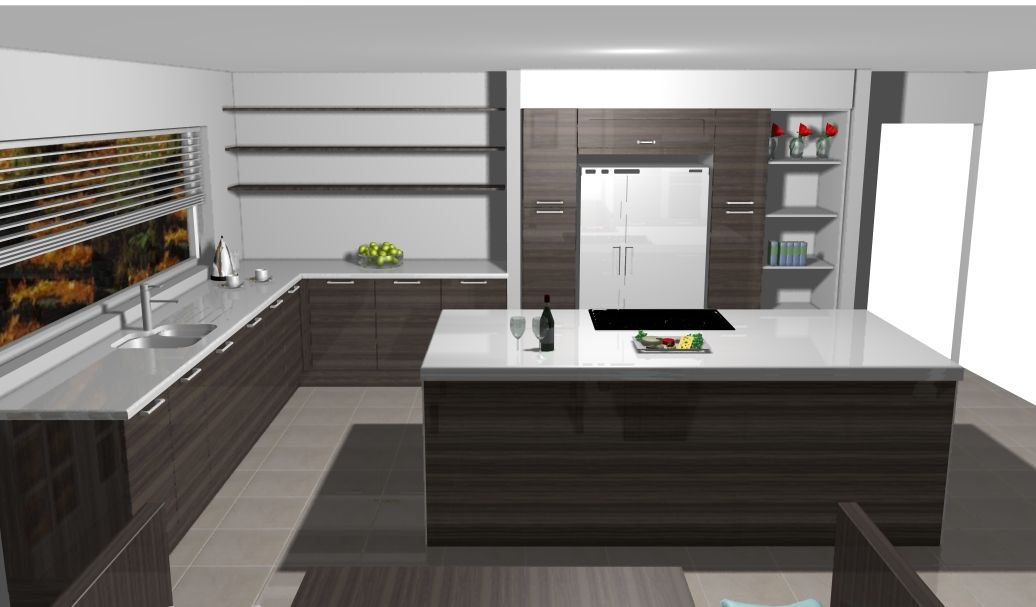 Awesome Ultra Modern Sleek Kitchen Design With Built In Wall Units, Silestone Tops  And Island.