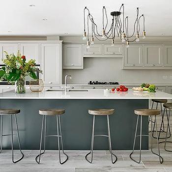 Dark Gray Kitchen Island With Restoration Hardware Remy Stools Transitional Kitchen Benjamin Grey Kitchen Island Light Grey Kitchens Light Gray Cabinets