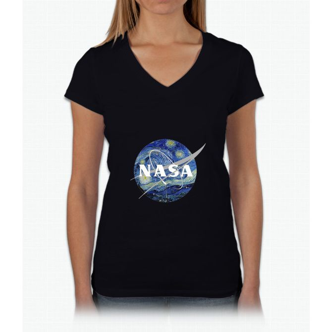 Nasa Starlight Womens V-Neck T-Shirt