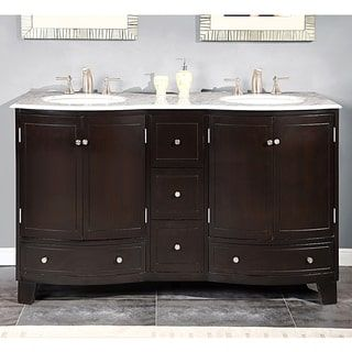 Silkroad Exclusive 60-inch Carrara White Marble Bathroom Vanity | Overstock. com Shopping - The Best Deals on Bathroom Vanities