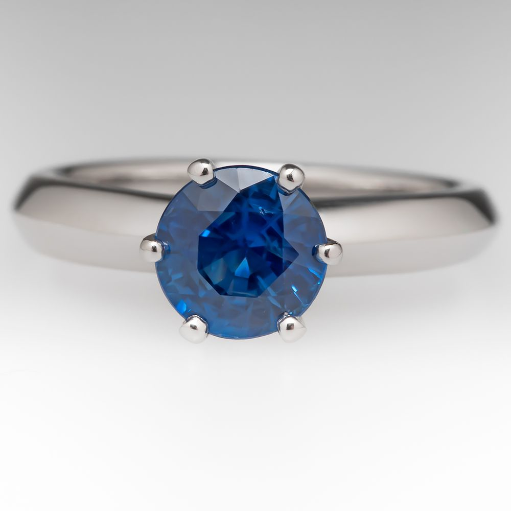 Sapphire Engagement Rings · 13 Carat Blue Sapphire Tiffany Style Solitaire  Platinum Ring