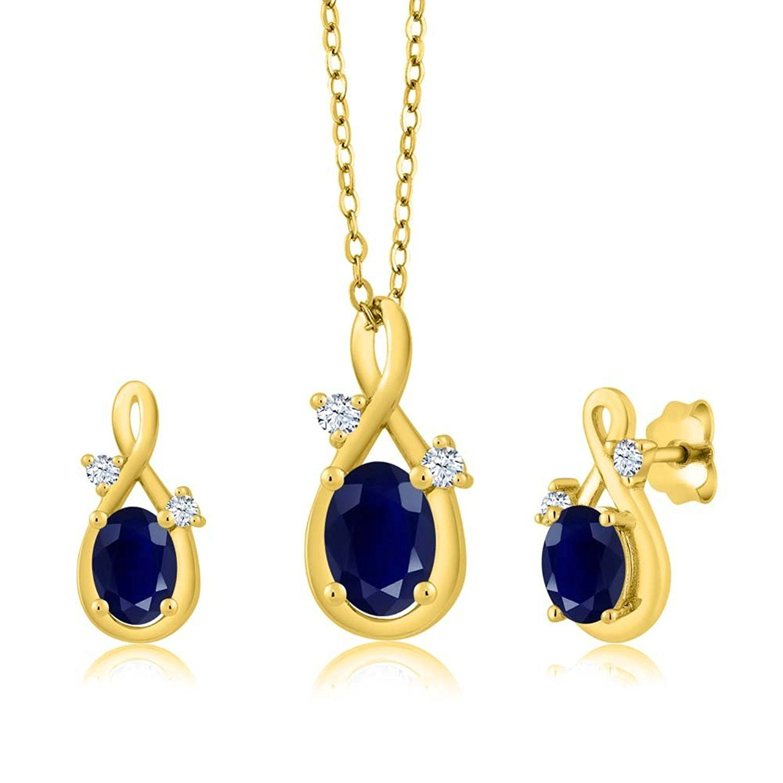 ct oval blue sapphire k yellow gold pendant earrings set