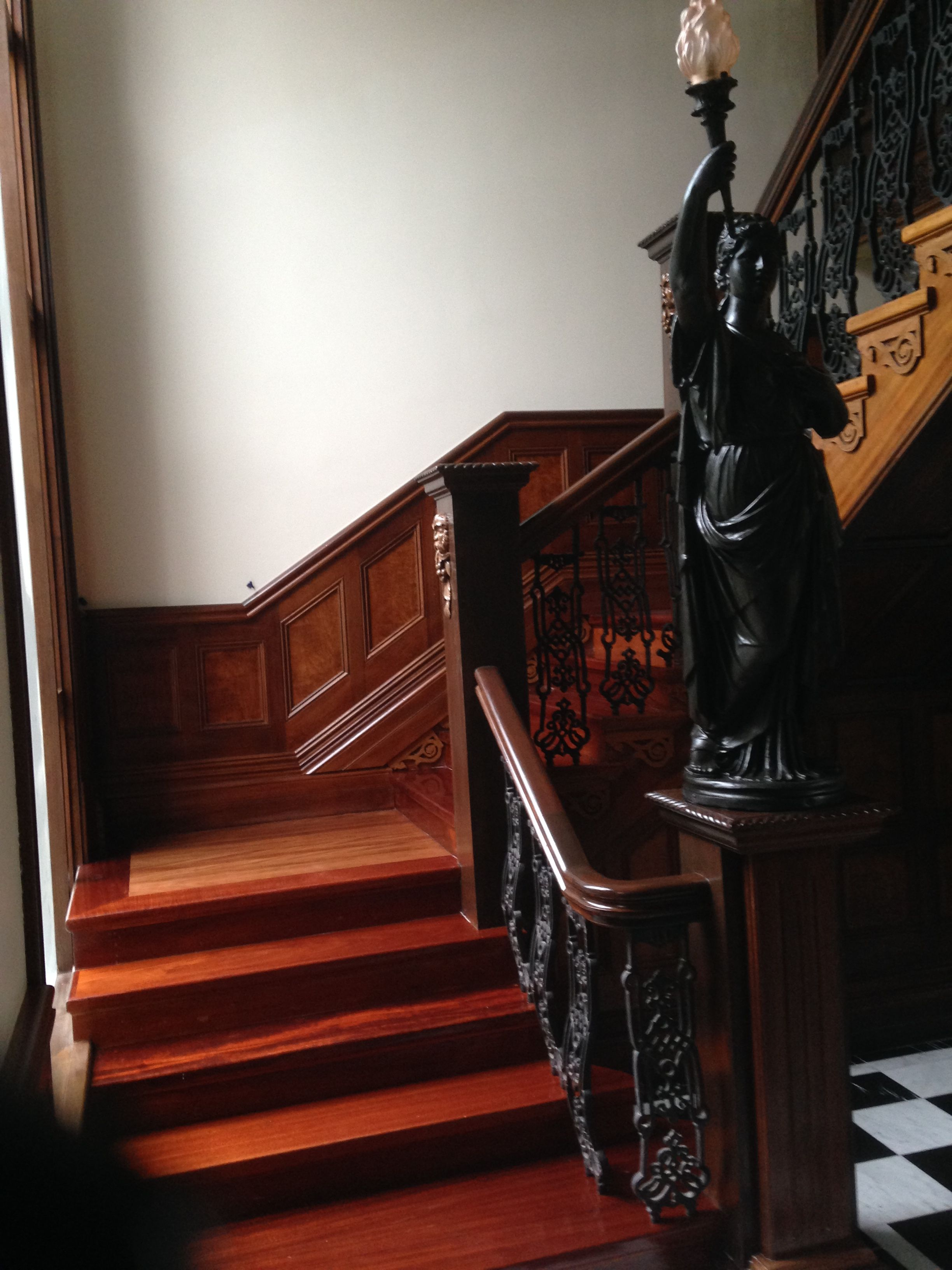 Timber stairs with waterbased finish