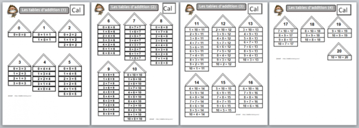 Les tables d 39 addition cp pinterest - Table d addition a completer ...