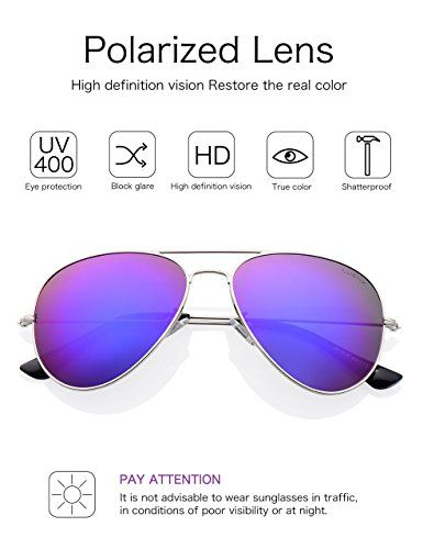 1417f82891 Amazon.com  LUENX Womens Aviator Sunglasses Polarized Mirrored Purple  lenses Metal Frame 100% UV Protection Classic Style  Clothing