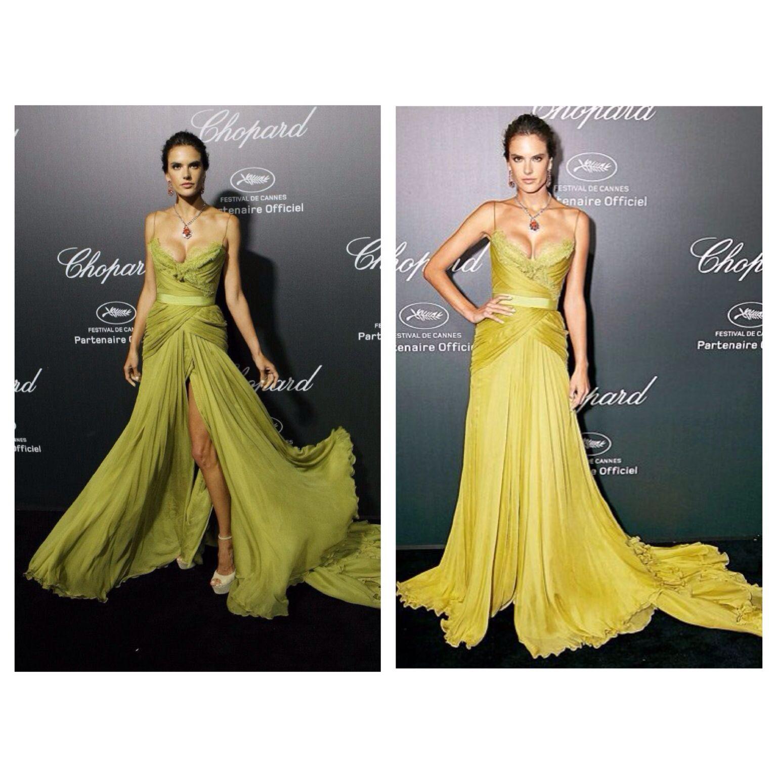 Alessandra Ambrosio in a green dress