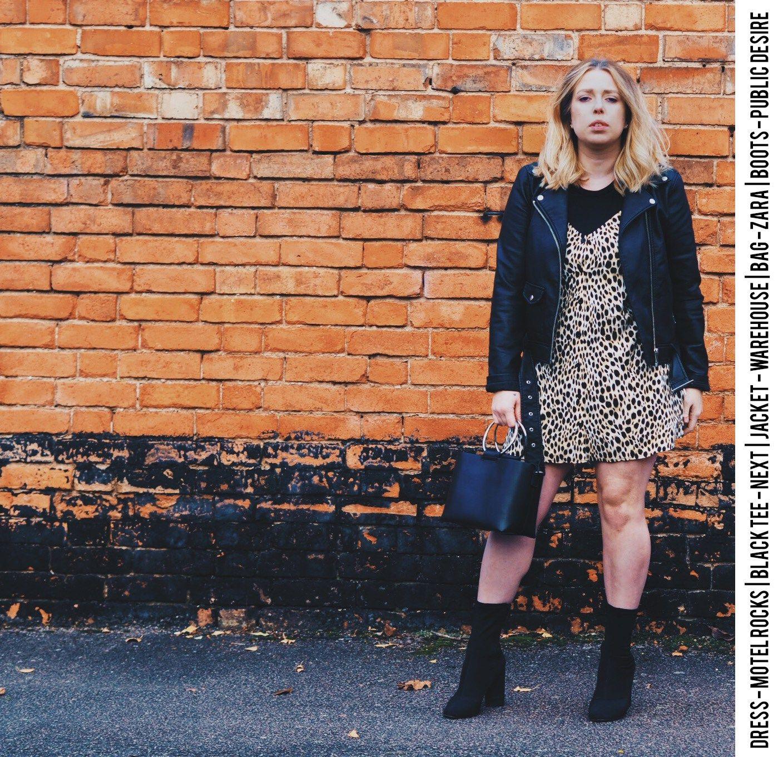 6e9775fb15e4 Cheetah/Leopard/animal print motel rocks slip dress, warehouse faux leather  jacket, public desire sock boots and zara circle handle bag, fashion  blogger, ...