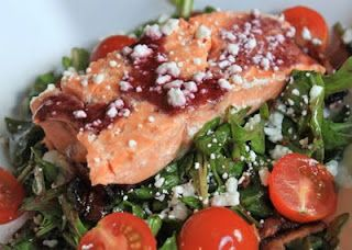 greens and chocolate: blackberry bacon and salmon arugula salad.  This will be supper tonight!
