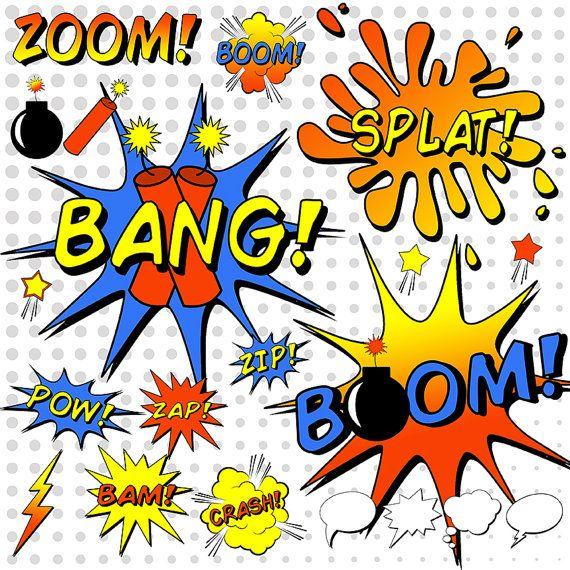 SuperHero Clipart, Comic Book Clipart, Comic Book Word Bubbles ...