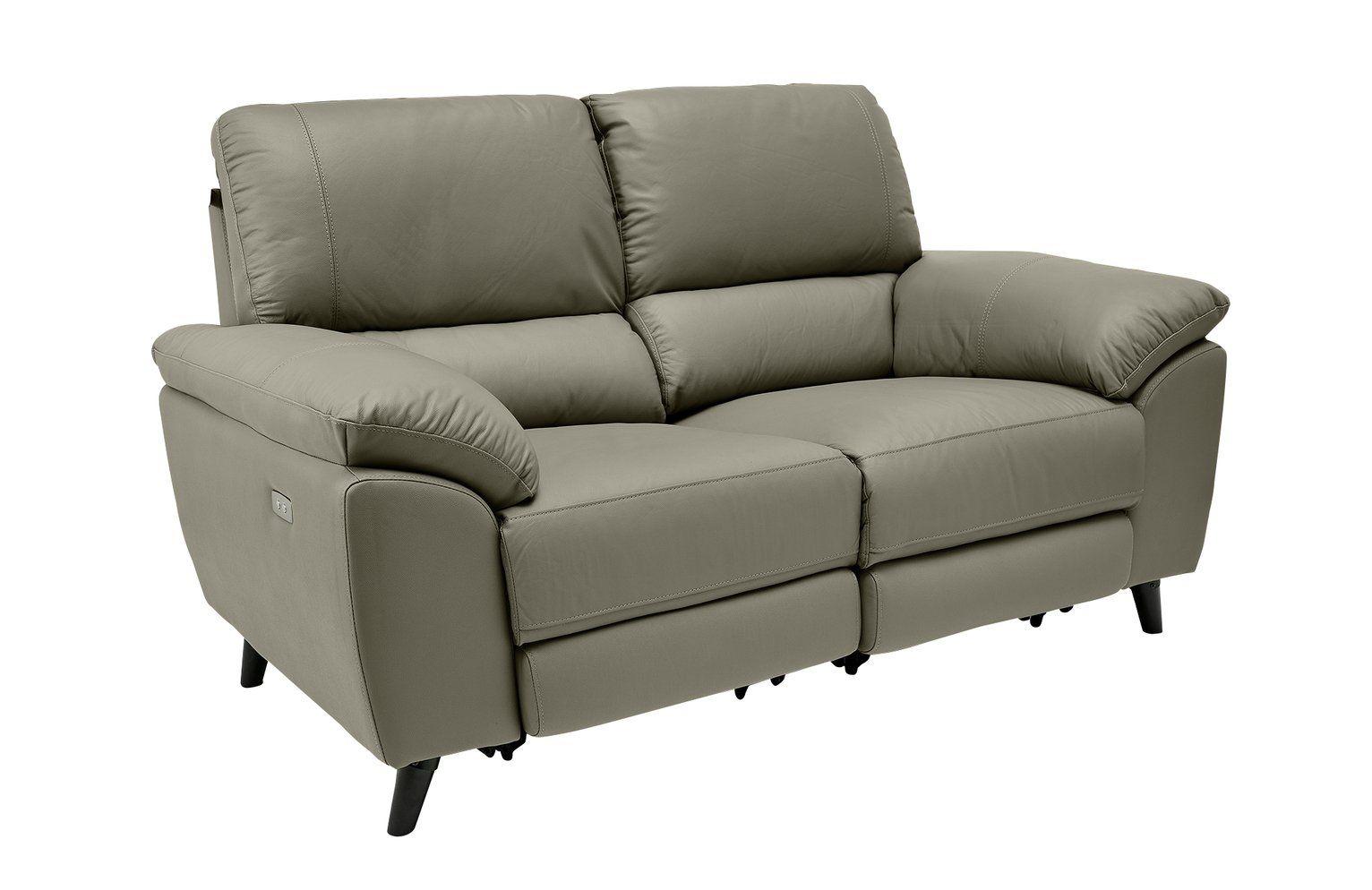 Argos Home Elliot Leather Mix 2 Seater Recliner Sofa Grey In 2020 Reclining Sofa Gray Sofa Recliner