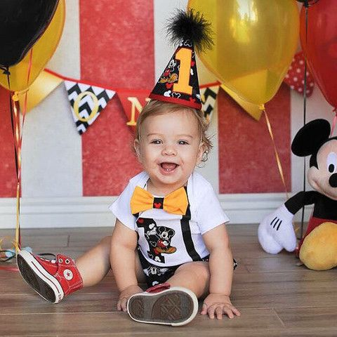 Mickey Mouse 1st Birthday 3 Pc Outfit - Black - 12 - 18 Month