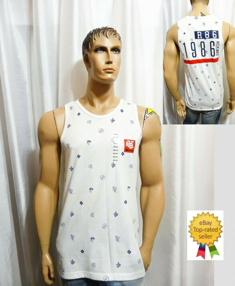 73f8612d0ab33 Y R Young Reckless mens skate surf RAIN DROP ICON white muscle tank top M  NEW  YoungReckless  tanktop  Casual