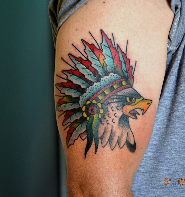 Traditional Style Tattoo Of Eagle Wearing A Native Indian Headdress
