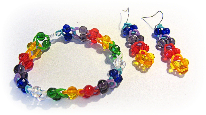 Diy pulseras de gomitas con cuentas rubber band bracelet