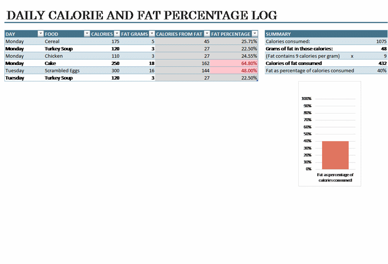 Daily Food Calorie Log Template  Medical Forms    Logs