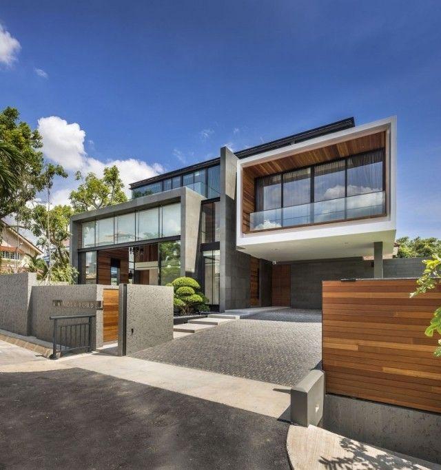 Hausbau ideen mit garage  moderne hausfassade holz beton garage verglasung | Haus am See ...