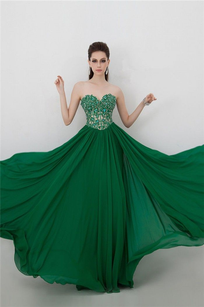 Sexy See Through Bodice Long Emerald Green Chiffon Lace Beaded ...